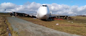 Halifax Stanfield Airport; Sky Lease Cargo Boeing 747 arriving from Chicago went off to the end of runway 32