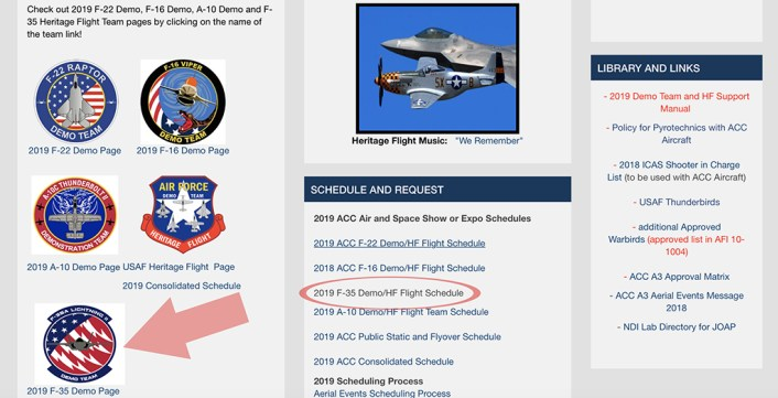 New F-35A Demonstration Team for the upcoming 2019 Airshow changes